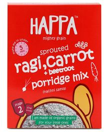 Happa Organic Stage 2 Sprouted Ragi Carrot and Beetroot Porridge Mix - 200 gm
