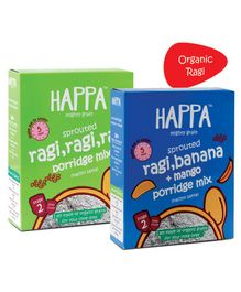 Happa Organic Ragi and Cardamom and Ragi Banana and Mango Porridge Mix Pack of 2 - 200 gm each
