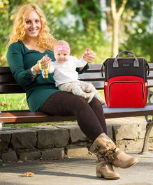 Babyhug Backpack Style Diaper Bag - Red Black