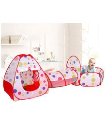 Skylofts 3-Piece Kids Pop Up Play Tent Crawl Tunnel and Ball Pit Playhouse with Basketball Hook - Red