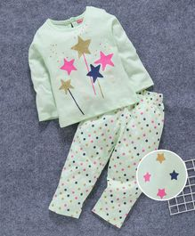 Babyhug Full Sleeves Night Suit Star Print - Mint