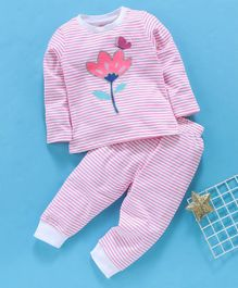 Babyhug Full Sleeves Striped Night Suit Floral Print - Pink
