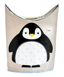 3 Sprouts Laundry Hamper Penguin Print - Black and White