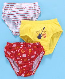 Red Rose Striped Briefs Rock On Print - White Red Yellow