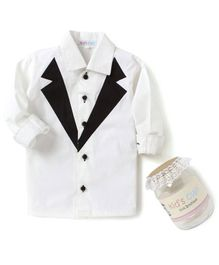 Kids Clan Tuxedo Style Solid Full Sleeves Shirt - White
