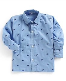 Kids Clan Scooter Print Full Sleeves Shirt - Sky Blue