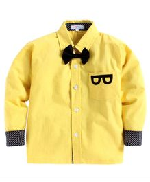 Kids Clan Bow Attached Full Sleeves Shirt - Yellow
