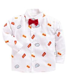 Kids Clan Pow Embroidered Full Sleeves Shirt With Attached Bow - White