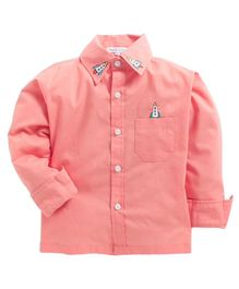 Kids Clan Rocket Embroidered Full Sleeves Shirt - Peach