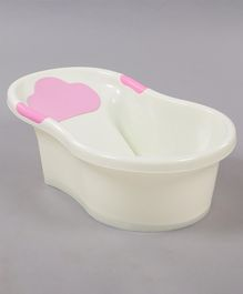 Small Size  Baby Bath Tub Lovely Elephant Print - White Pink