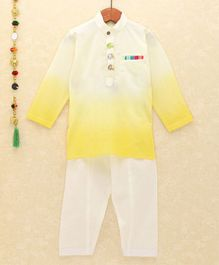 Lil Pitaara Elephant Buttons Detailed At Neckline Full Sleeves Kurta With Salwar - Light Yellow