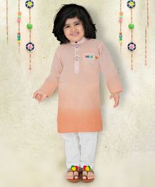 Lil Pitaara Monkey Buttons Detailed At Neckline Full Sleeves Kurta With Salwar - Light Peach