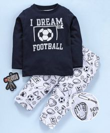 Smarty Full Sleeves Tee & Lounge Pant Football Print - Navy Blue