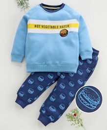 Stupid Cupid Burger Patch Full Sleeves Sweatshirt With Bottom - Blue
