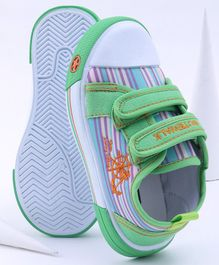 Cute Walk by Babyhug Stripe Canvas Shoes - Green