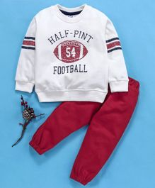 Simply Full Sleeves Tee And Lounge Pant Football Print - White Red