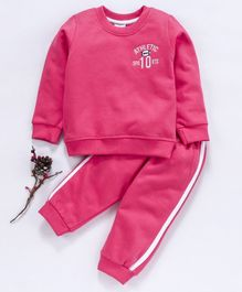 Simply Full Sleeves Tee And Lounge Pant Athletic Embroidery - Pink