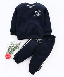 Simply Full Sleeves Tee And Lounge Pant Athletic Embroidery - Navy Blue