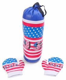 Kids Boxing Set USA Flag Print - Blue