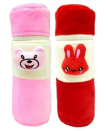 Brandonn Velvet Feeding Bottle Covers With Animal Motifs Fits 250 ml Bottle Set of 2 - Red Pink