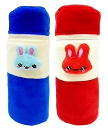Brandonn Velvet Feeding Bottle Covers With Animal Motifs Fits 250 ml Bottle Set of 2 - Red Blue