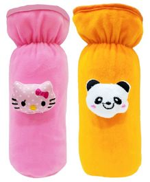 Brandonn Velvet Feeding Bottle Covers With Animal Motifs Fits 250 ml Bottle Set of 2 - Orange Pink