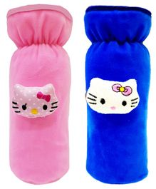Brandonn Velvet Feeding Bottle Covers With Animal Motifs Fits 250 ml Bottle Set of 2 - Blue Pink