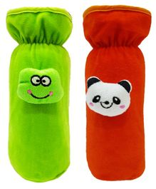 Brandonn Velvet Feeding Bottle Covers With Animal Motifs Fits 250 ml Bottle Set of 2 - Red Green