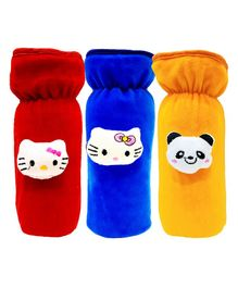 Brandonn Velvet Feeding Bottle Covers With Animal Motifs Fits 250 ml Bottle Set of 3 - Multicolor