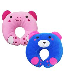 Brandonn U-Shaped Pillow With Soft Cushion Pack Of 2 - Pink Blue