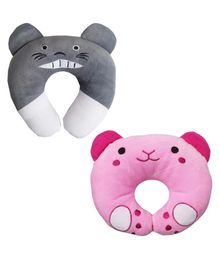 Brandonn U-Shaped Pillow With Soft Cushion Pack Of 2 - Pink Grey