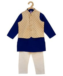 Campana Full Sleeves Kurta With Chanderi Jacket & Pajama - Blue & Golden
