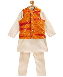 Campana Full Sleeves Kurta With Embroidered Jacket & Pajama - Orange & Golden