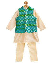 Campana Full Sleeves Kurta With Embroidered Jacket & Pajama - Blue & Golden