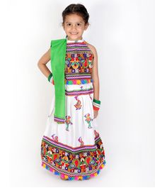 KID1 Motif Embroidery Detailing Sleeveless Choli With Girl Playing Dandiya Embroidered Lehenga With Dupatta - White