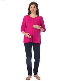 Kriti Three Fourth Sleeves Maternity Nursing Top - Red
