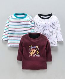 Kidi Wav Pack Of 3 Bear Printed Full Sleeves T-Shirt - Maroon