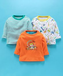 Kidi Wav Pack Of 3 Bear Print Full Sleeves T-Shirt - Orange