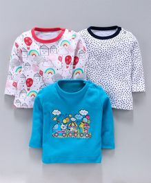 Kidi Wav Dots & Cartoon Print Full Sleeves Pack of 3 Tee - Blue & White