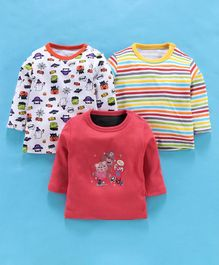 Kidi Wav Pack Of 3 Bear Print Full Sleeves T-Shirt - Red & Orange