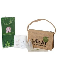 Rustic Art Menstrual Cup Kit Large - Multicolour