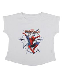 Marvel By Crossroads Spider-Man Print Short Sleeves Top - White