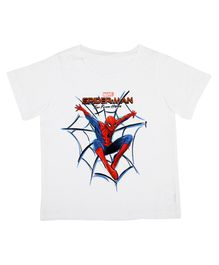 Marvel By Crossroads Spider-Man Typography Print Half Sleeves Tee - White