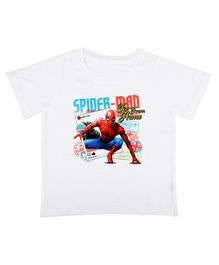 Marvel By Crossroads Spider-Man Postcard Print Half Sleeves Tee - White