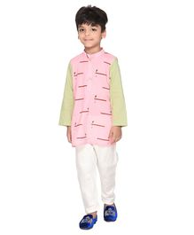 Amairaa Morpankh Printed Full Sleeves Kurta & Pajama Set - Yellow & Light Pink