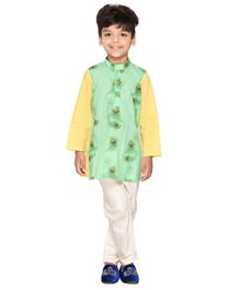 Amairaa Morpankh Printed Full Sleeves Kurta & Pajama Set - Green & Yellow