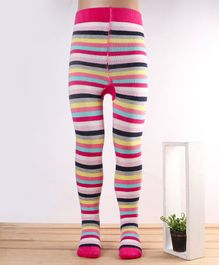 Mustang Stripe Footed Tights - Fuchsia Multicolour