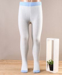 Mustang Footed Tights Stripes Design - White Blue