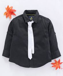 Gini & Jony Full Sleeves Shirt With Tie - Black