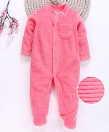 Fox Baby Full Sleeves Winter Footed Romper - Pink